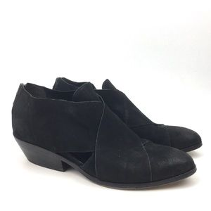 Eileen Fisher ankle boot black leather criss cross